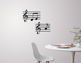 Music note wall decoration 3D printable model