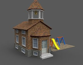 Cartoony Grade School 3D model low-poly