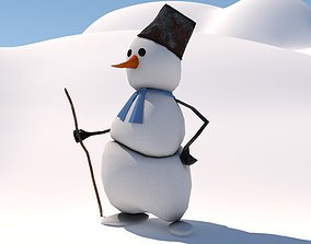 winter 3D model snowman