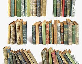 old books on a shelf set 11 3D