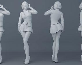 Female students wear school uniforms 3D printable model