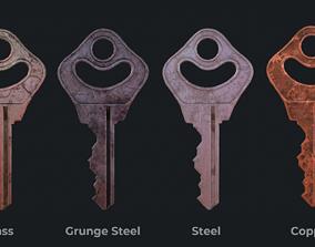Metal key for the door lock 3D asset realtime