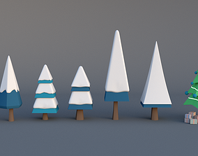 3D asset Christmas tree low poly