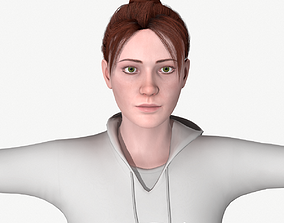 Young woman rigged 3D model