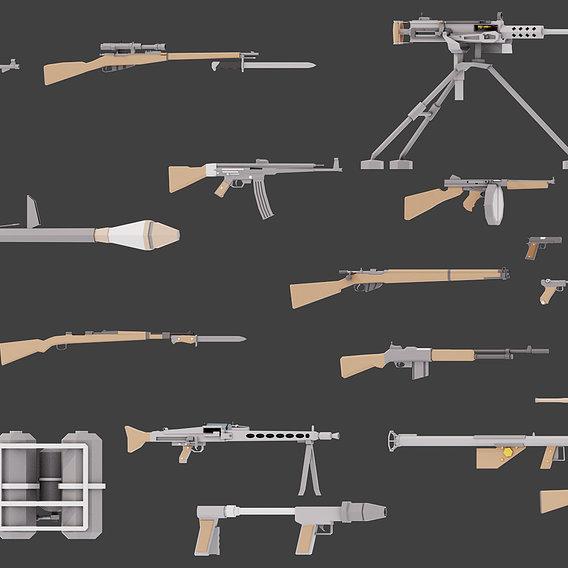 Low Poly WW2 Guns
