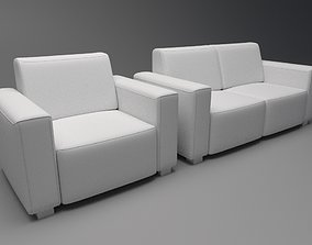low-poly Sofa 3D model visualizations
