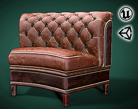 low-poly Leather Seat - Couch - VR Game Low-poly 3D model