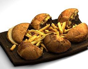 Hamburgers with Fries - Photogrammetry 3D model