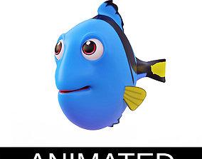 Blue Tang Fish Cartoon Style Animated 3D model