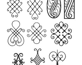 3D model Wrought iron elements collection
