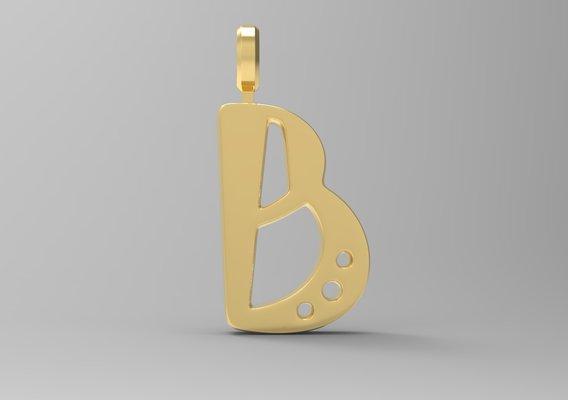 B Letter Pendant Gold