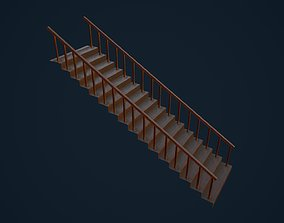 3D model game-ready Wooden Stairs