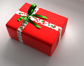 Red Gift Box 11 with Ribbon 3D