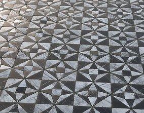 3D model Ornamental black and white marble tiles