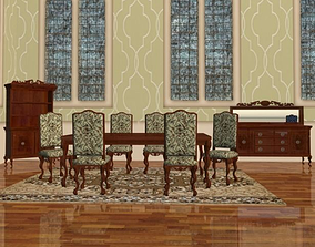 3D model French Provincial Dining Suite