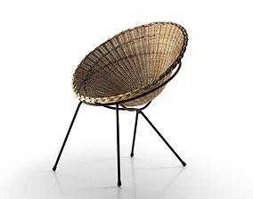 Round Wicker Chair 3D model garden