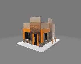 3D Restaurant Exterior Model animated