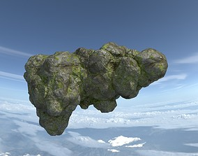 3D asset Low poly Floating Island Mossy Rock 06 190503