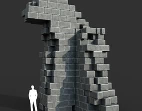 3D asset Low poly Ancient Roman Ruin Construction R3 - 1