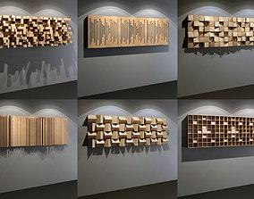 3D model Six Acoustic Wall Panels for Recording Studio