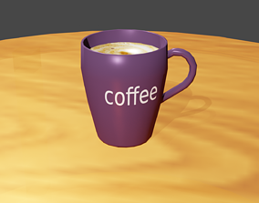 coffee cup 3D model realtime milk