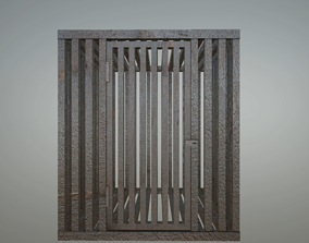 3D asset rusty cage with door and latch