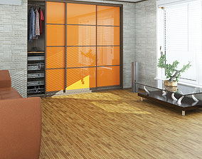 3D asset game-ready Wardrobe and window with blinds