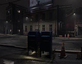 3D asset Atmospheric Night city street scene