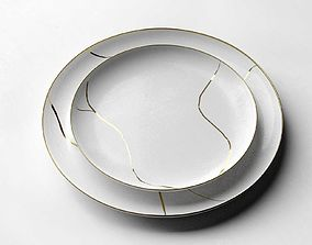 gold Shallow Plates 3D model