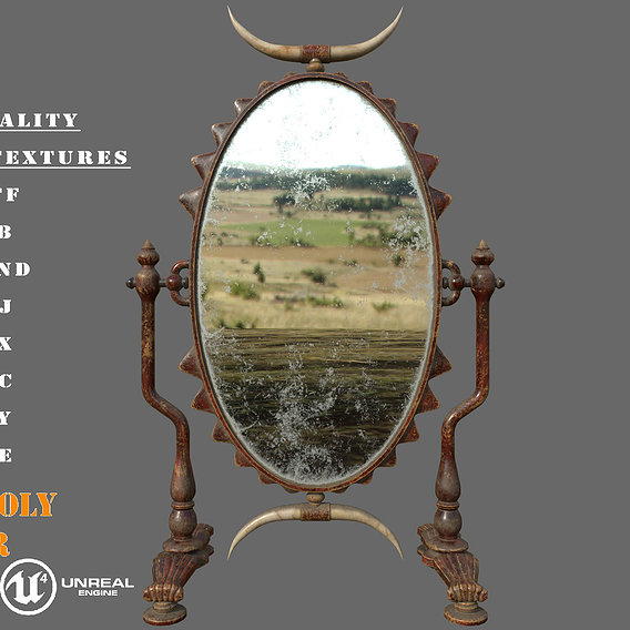Old Antigue Double Sided Mirror PBR Low-Poly Game Ready 3D Model