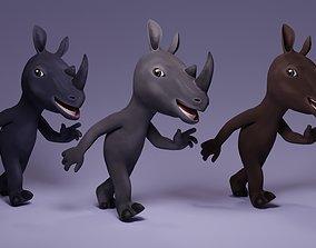 Toon Humanoid Rhinoceros 3D asset animated