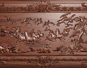 Horses bas relief 3D print model