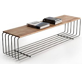 Fence Bench Coffee Table with Books 3D