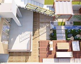 3D model Backyard landsacpe design of modern house with