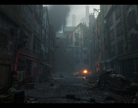 Victorian Decayed Alley Environment Game Ready 3D asset