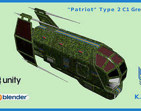 Spaceship Patriot Type 2 C1 Green 3D asset