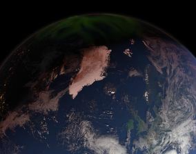 3D model 43K Realistic Earth Aurora Lights
