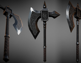 3D model Metal Battle Axe 01