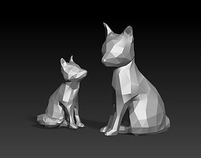 3D print model wolf and baby