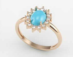 Women ring with cabochon and gems 3dm 1