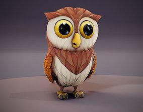 animated game-ready Cartoon Owl Animated 3D Model