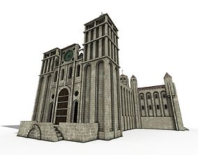 Cathedral Romanesque with Hermitage and houses 3D