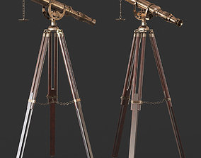 Vintage Antique Tripod Telescope 3D model