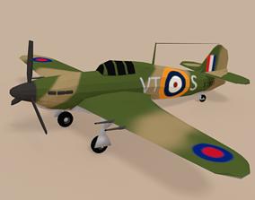 3D asset Low Poly Hawker Hurricane MK II WW2 Airplane