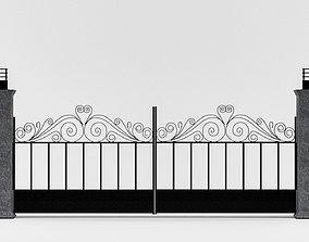 Entrance gate 3D model low-poly