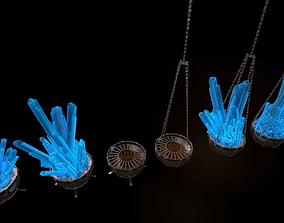 3D asset Set of Fire bowls and Crystal Lanterns