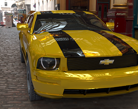 3D asset chevorlet yellow sport car