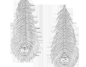Peacock feather flexible pendant earrings 3D print model