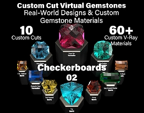 Checkerboards 02 - Custom Cut Gemstones-Custom V-Ray 3D