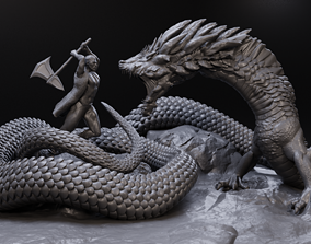 Linnorm the Dragon Vs huntsman 3D print model